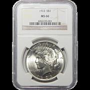 1923 Ngc MS66 Peace Dollar