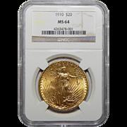 1910 Ngc MS64 $20 St. Gaudens Gold