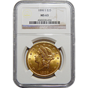 1898-S Ngc MS63 $20 Liberty Head Gold