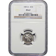 1887/(6) Ngc PF67 Three-Cent Copper Nickel