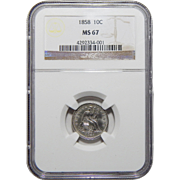 1858 Ngc MS67 Seated Liberty Dime