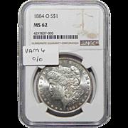 """1884-O Ngc MS62 Vam-6 """"O/O"""" Morgan Dollar"""
