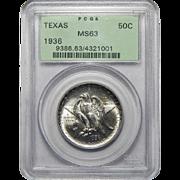 1936 Pcgs MS63 Texas Half Dollar