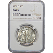 1938-D Ngc MS65 Walking Liberty Half Dollar