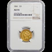 1861 Ngc AU55 $3 Gold