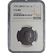 1793 NGC F12BN Liberty Cap Flowing Hair Large Cent