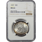 1837 Ngc MS64 Reeded Edge Capped Bust Half Dollar