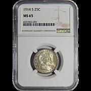 1914-S Ngc MS65 Barber Quarter