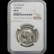1921 Ngc MS63 Alabama 2X2 Half Dollar