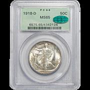 1918-D Pcgs/Cac MS65 Walking Liberty Half Dollar