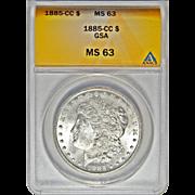 1885-CC Anacs MS63 Morgan Dollar