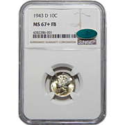 1943-D Ngc/Cac MS67+FB Mercury Dime