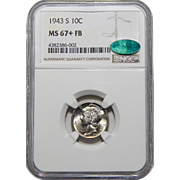 1943-S Ngc/Cac MS67+FB Mercury Dime
