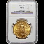 1911 Ngc MS62 $20 Saint Gaudens