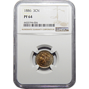 1886 Ngc PR64 Three-Cent Copper