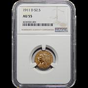 1911-D Ngc AU55 $2.50 Strong D Indian Gold