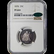 1876 Ngc/Cac PR64+ Liberty Seated Quarter