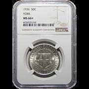 1936 Ngc MS66+ York Half Dollar