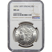 1878 Ngc MS64 7/8TF $1 Strong Morgan Dollar