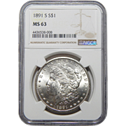 1891-S Ngc MS63 Morgan Dollar