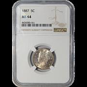 1887 Ngc MS64 Liberty Nickel