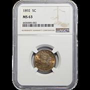 1892 Ngc MS63 Liberty Nickel