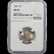 1907 Ngc MS64 Liberty Nickel