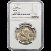 1921 Ngc AU58 Alabama Half Dollar