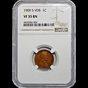 1909-S VDB Ngc VF35BN Lincoln Wheat Cent