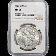 1881-CC Ngc MS64 Morgan Dollar