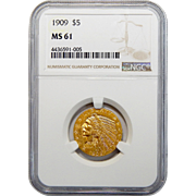1909 Ngc MS61 $5 Indian Gold