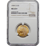 1909-D Ngc MS65+ $5 Indian Gold