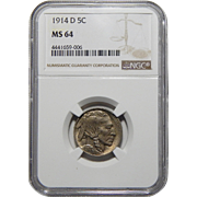 1914-D Ngc MS64 Buffalo Nickel