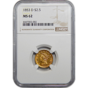 1853-D Ngc MS62 $2.50 Liberty Head Gold