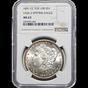 1891-CC Top-100, Vam-3 Spitting Eagle Ngc MS63 Morgan Dollar