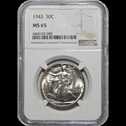 1943 Ngc MS65 Walking Liberty Half Dollar