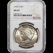 1935-S Ngc MS64 Peace Dollar