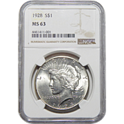 1928 Ngc MS63 Peace Dollar