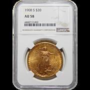 1908-S Ngc AU58 $20 Saint Gaudens