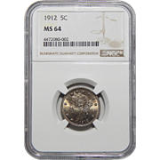 "1912 Ngc MS64 Liberty ""V"" Nickel"