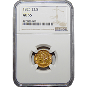 1852 Ngc AU55 $2.50 Liberty Head Gold