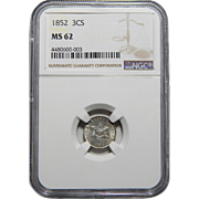 1852 Ngc MS62 Three Cent Silver