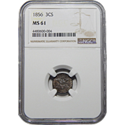 1856 Ngc MS61 Three Cent Silver