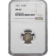 1871 Ngc MS62 Seated Liberty Half Dime