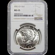 1923-D Ngc MS65 Peace Dollar