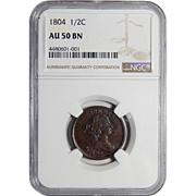 1804 Ngc AU50BN Crosslet 4, Stems Draped Bust Half Cent