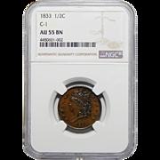 1833 Ngc AU55BN C-1 Variety Classic Head Head Cent