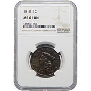 1818 Ngc MS61BN Coronet Head Large Cent