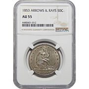 1853 Ngc AU55 Arrows and Rays Liberty Seated Half Dollar