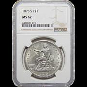 1875-S Ngc MS62 Trade Dollar